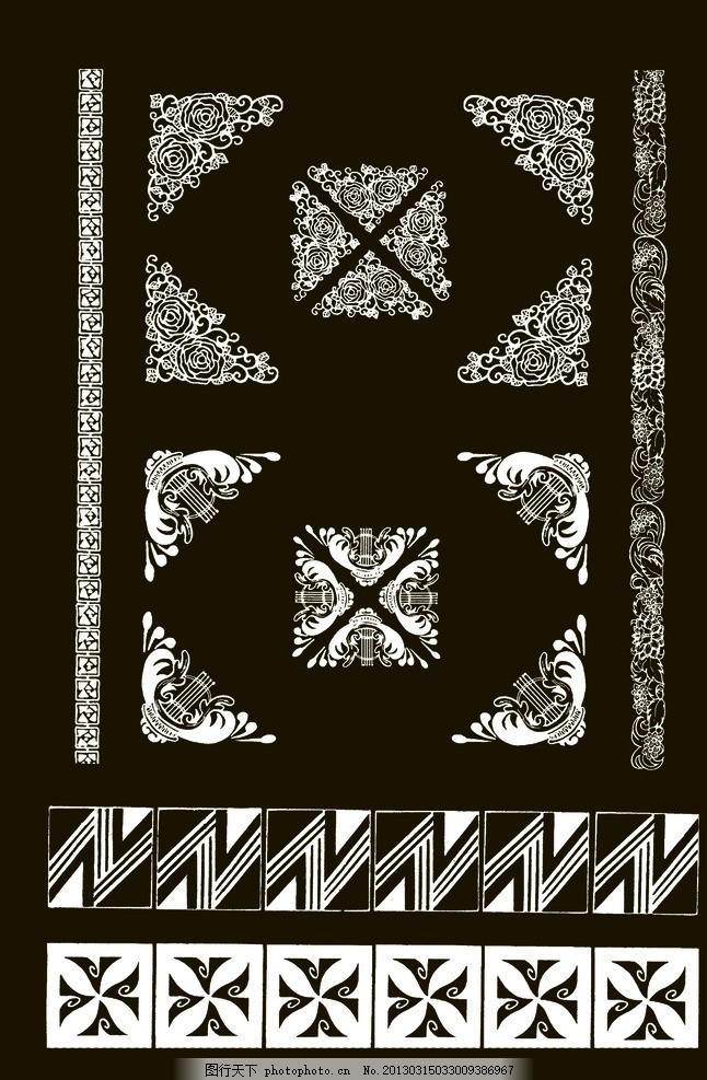 花卉 底纹 纹样 图案 传统 吉祥 中国 元素 花 花朵 边线 框线 边框