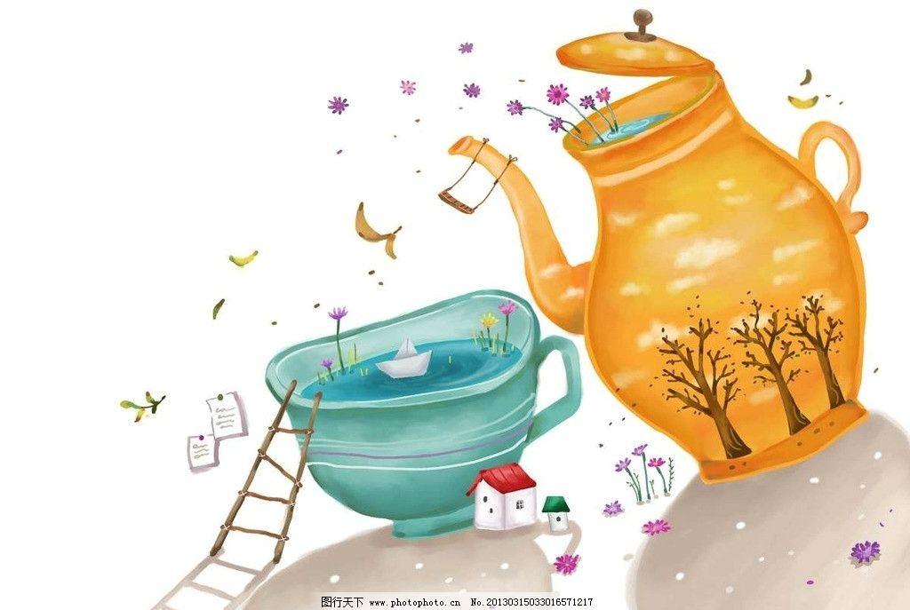 卡通水壶茶杯图片