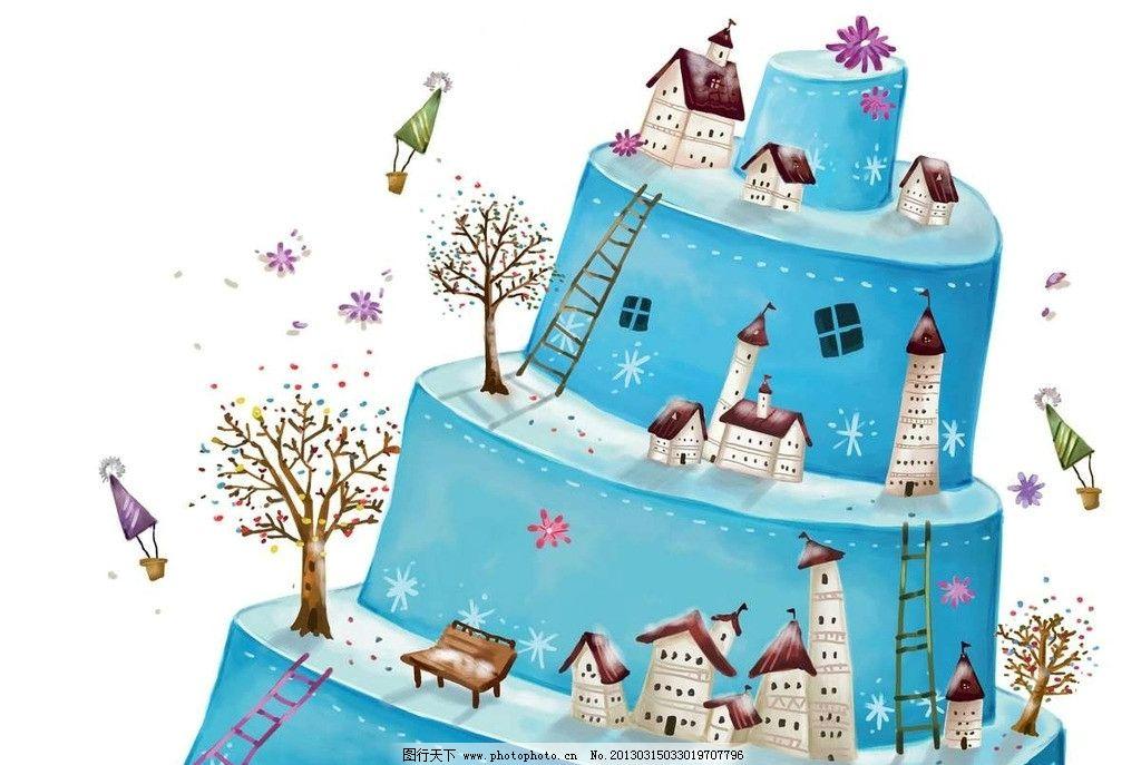 蛋糕房屋 蛋糕 生日蛋糕 房屋 房子 楼房 城堡 古堡 大树 树木 梯子图片