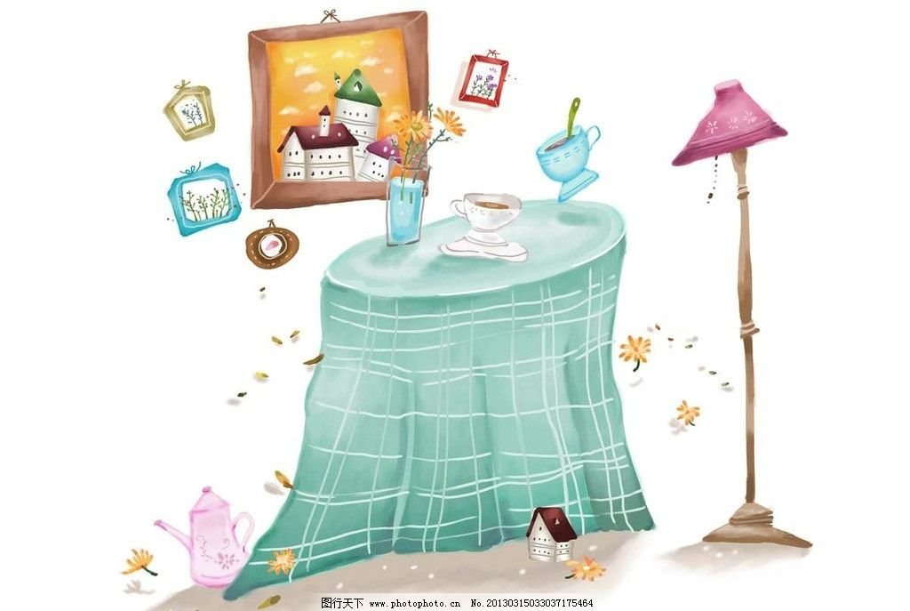 一桌子人吃饭卡通图片