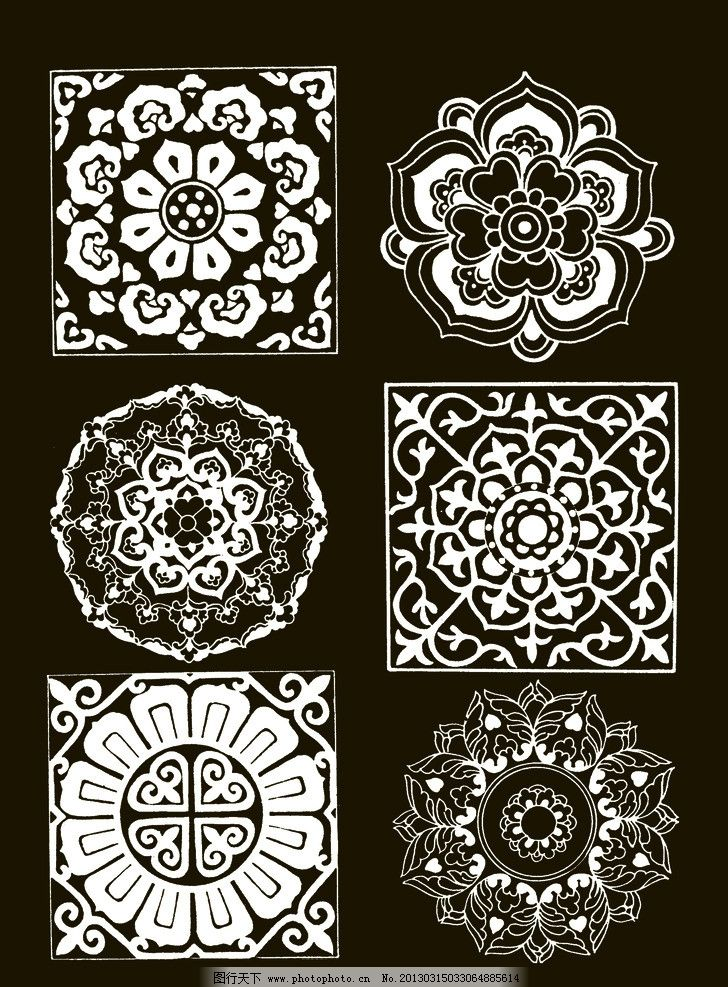 吉祥纹样 团花 圆形 宝相花 吉祥 纹样 图案 传统 民族 图腾 白描