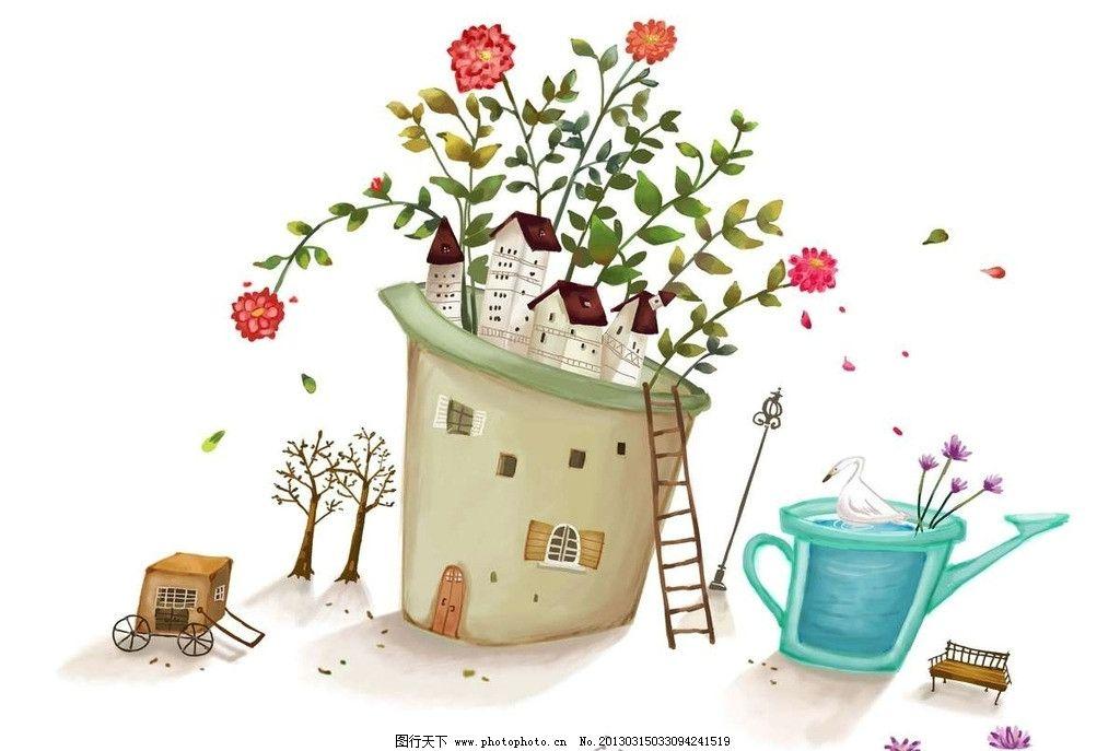 屋顶鲜花 屋顶 房屋 房顶 鲜花 花朵 玫瑰 花草 绿植 植物 绿叶 水壶图片