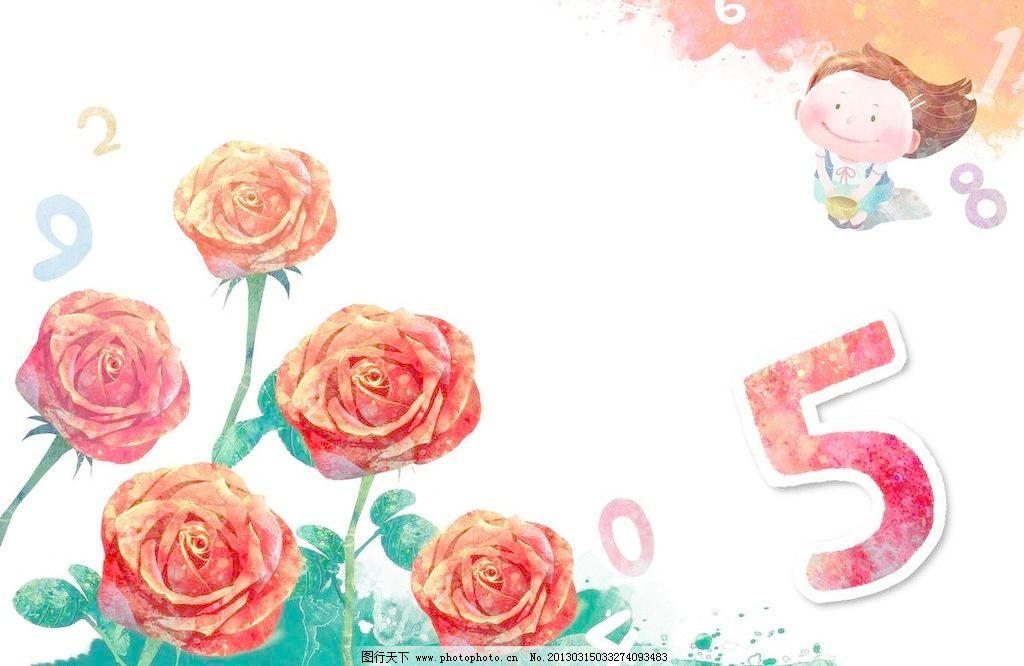玫瑰和小孩 玫瑰 小孩 孩子 儿童 玫瑰花 红玫瑰 鲜花 花朵 绿叶 树叶