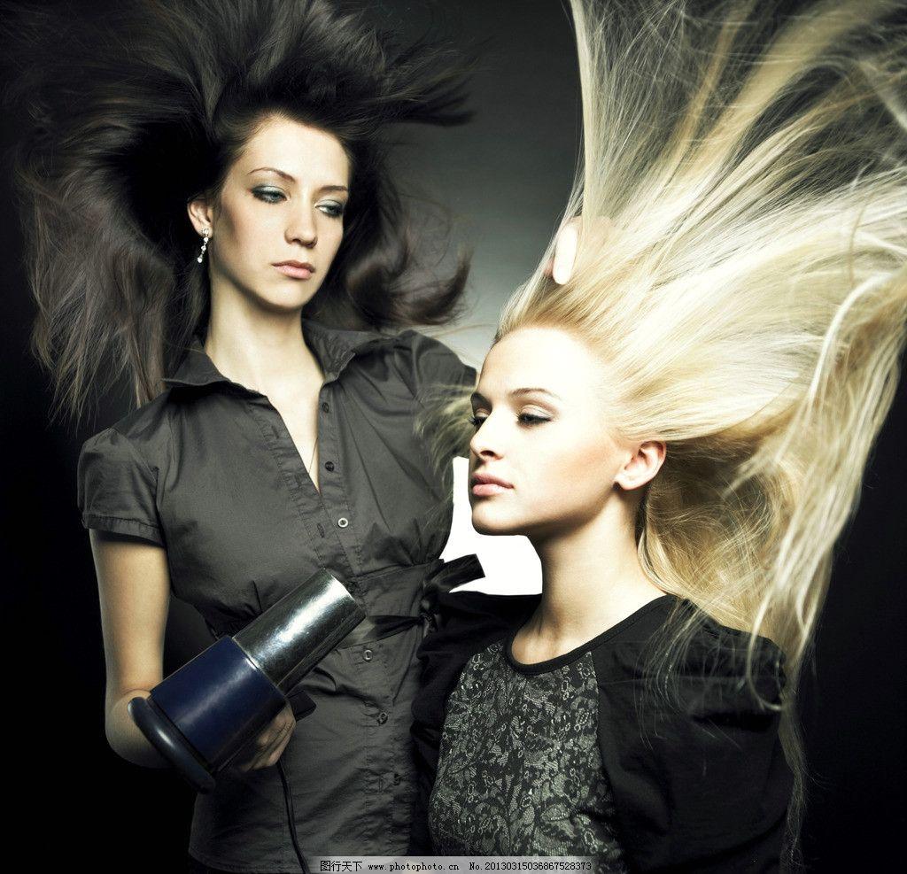美发美女图片,时尚美女 美发造型 吹风机 金色长发-图