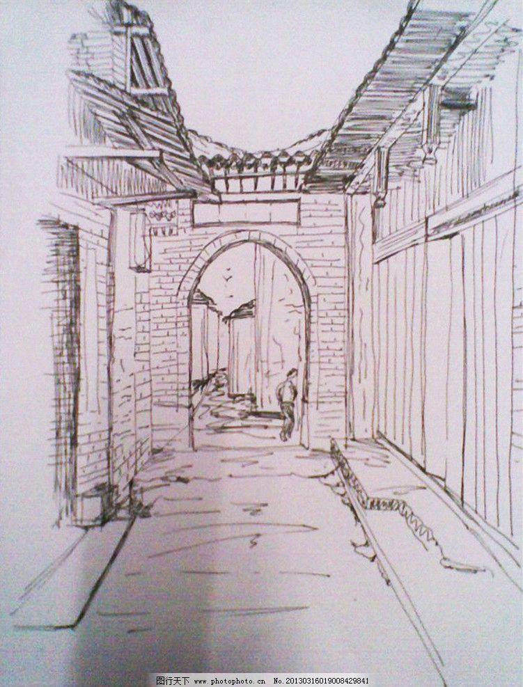 古建筑速写 武夷山古建筑 柱子 木隔板 瓦片 绘画书法 文化艺术 设计