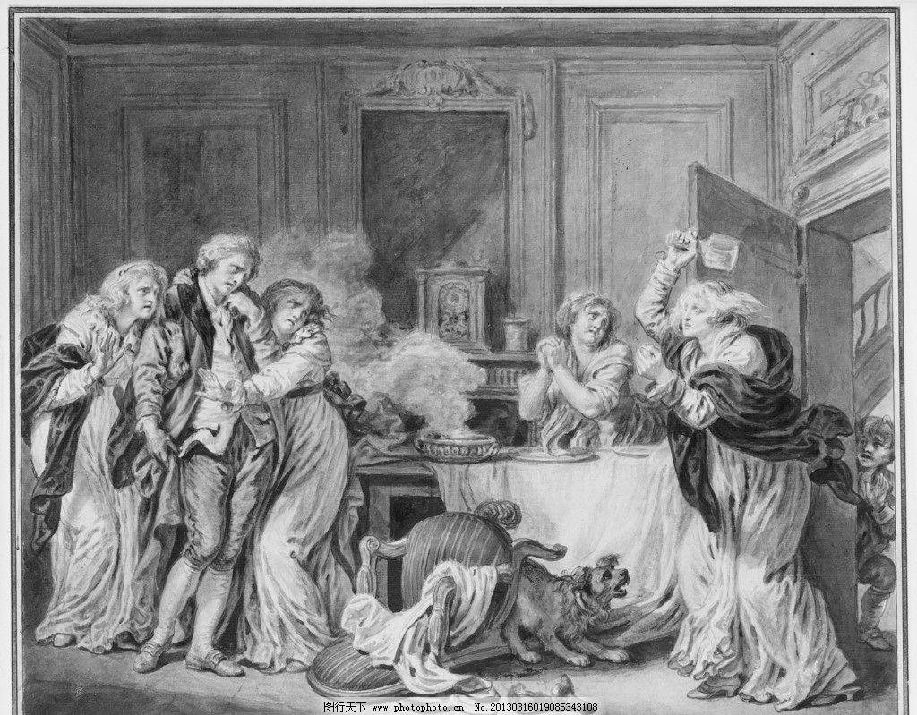 欧洲油画 欧洲 绘画 中世纪 油画 贵族 妇女 争吵 美术馆藏品 绘画图片