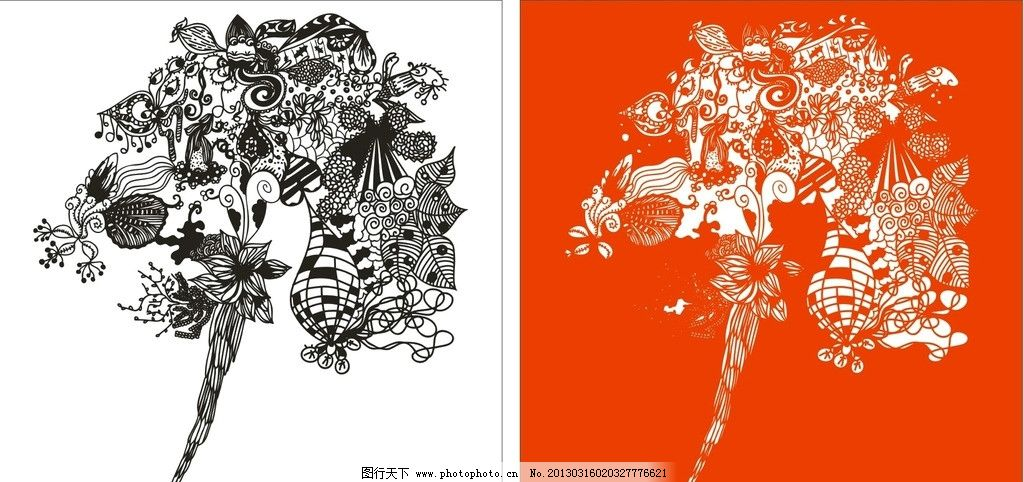 手绘植物图 矢量 手绘花纹 复古花纹 葡萄藤 藤蔓 红色 黑色 白色
