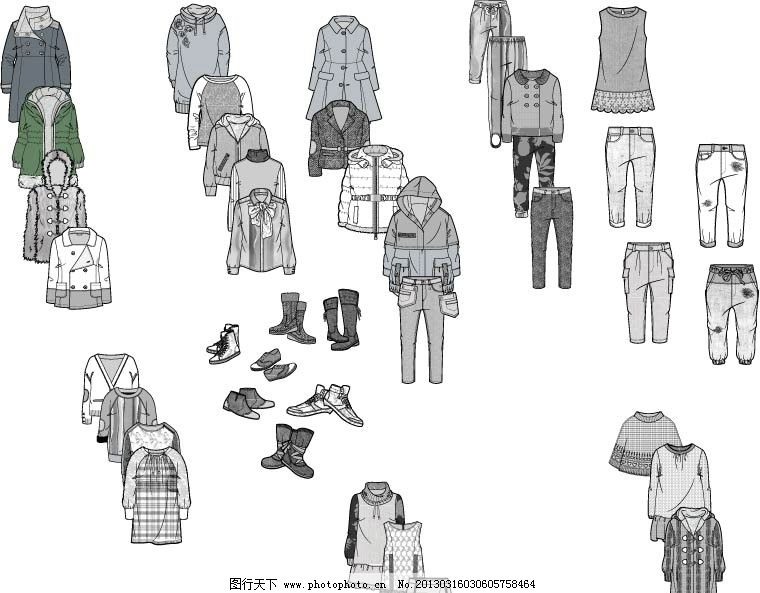 衣服 裤子 童装 女童 男童 其他设计 广告设计 矢量 衣服款式图 服装