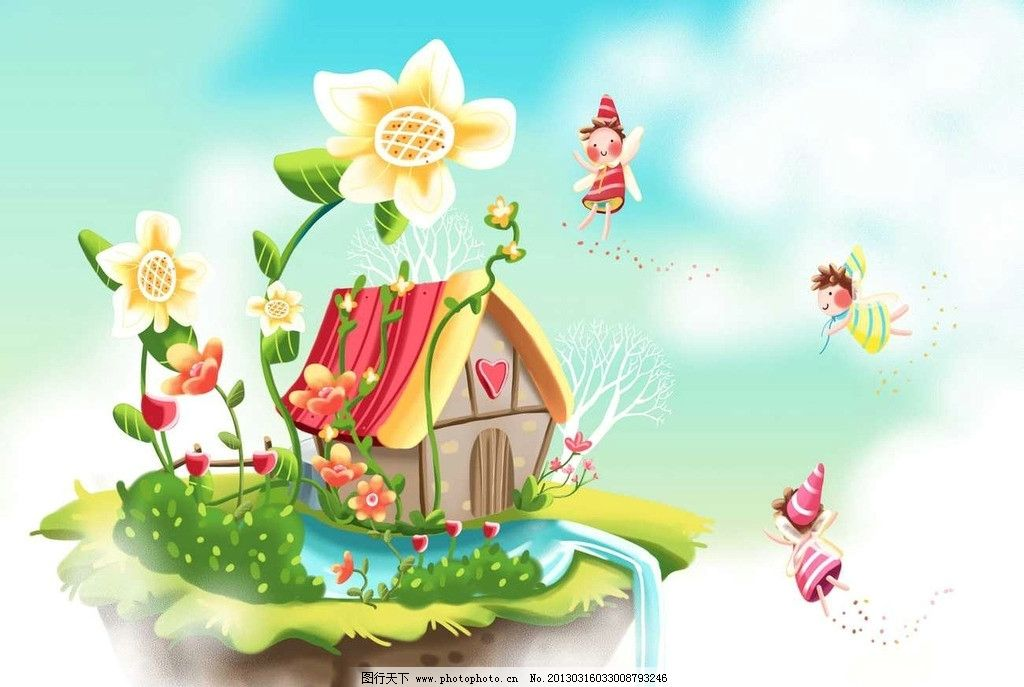 可爱卡通房子图画