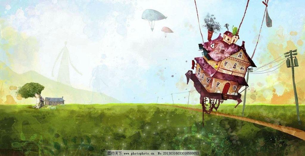 童话插画手绘图片木屋