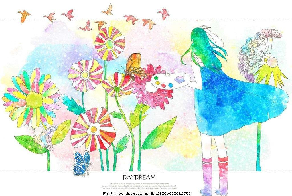 美女 女孩 画画 图画 鲜花 花朵 花瓣 花卉 飞鸟 图画板 美术作品