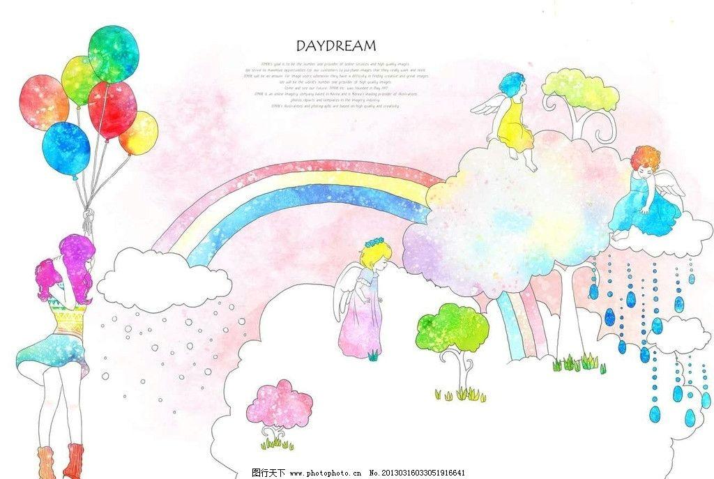 白云彩虹 云朵 气球 美女 女孩 少女 大树 绿树 树木 小天使