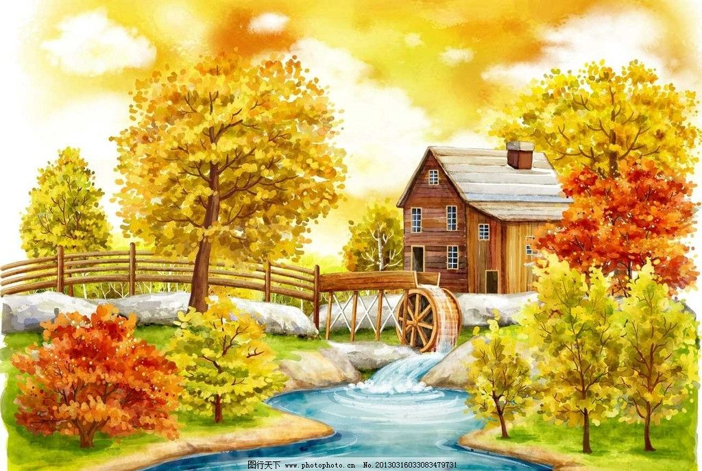 其他  金色秋天小河流水 小河流水 小溪 河流 小桥 木桥 桥梁 小木屋