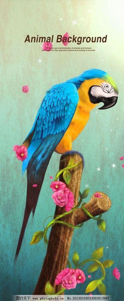 壁纸 动物 国画 鸟 鹦鹉 407_987 竖版 竖屏 手机