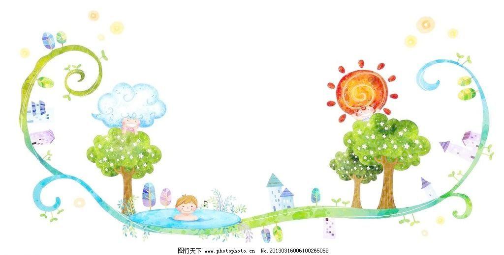 盛夏天气 盛夏 夏季 夏天 炎热 泡澡 洗澡 绿树 大树 树木 草地 花藤