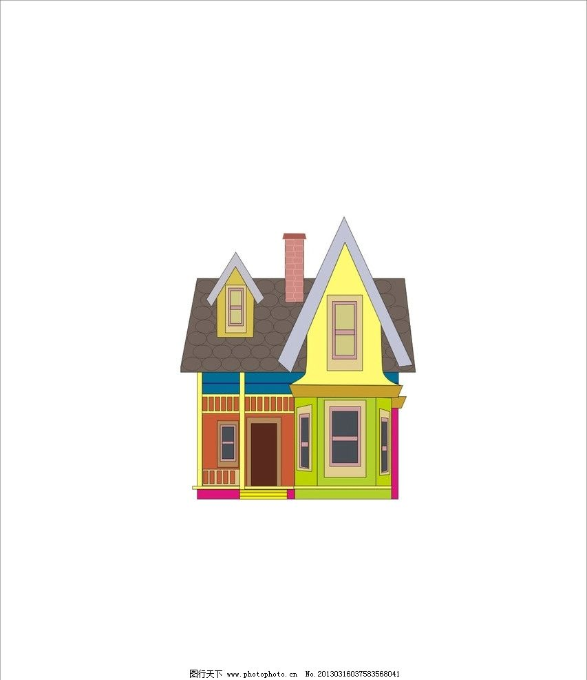 卡通房子 楼房 矢量