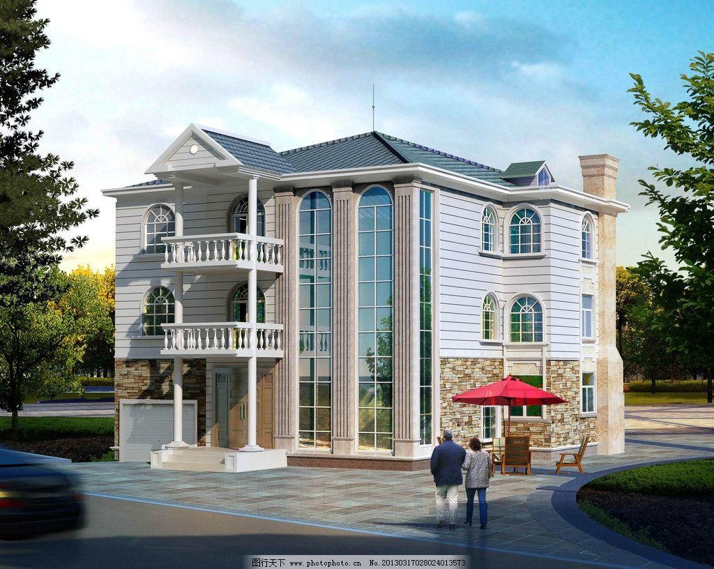 别墅外观图 别墅 住宅楼 小洋楼 欧式建筑 建筑设计 环境设计 设计