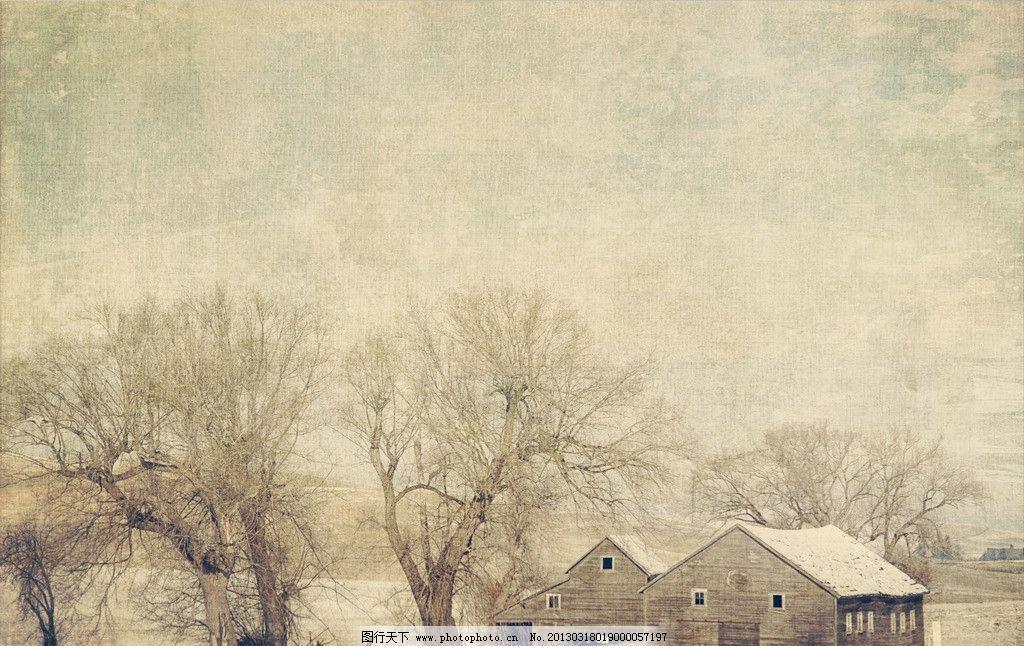风景工笔画 风景 工笔画 文化艺术 美术绘画 树 房屋 摄影图库 72dpi