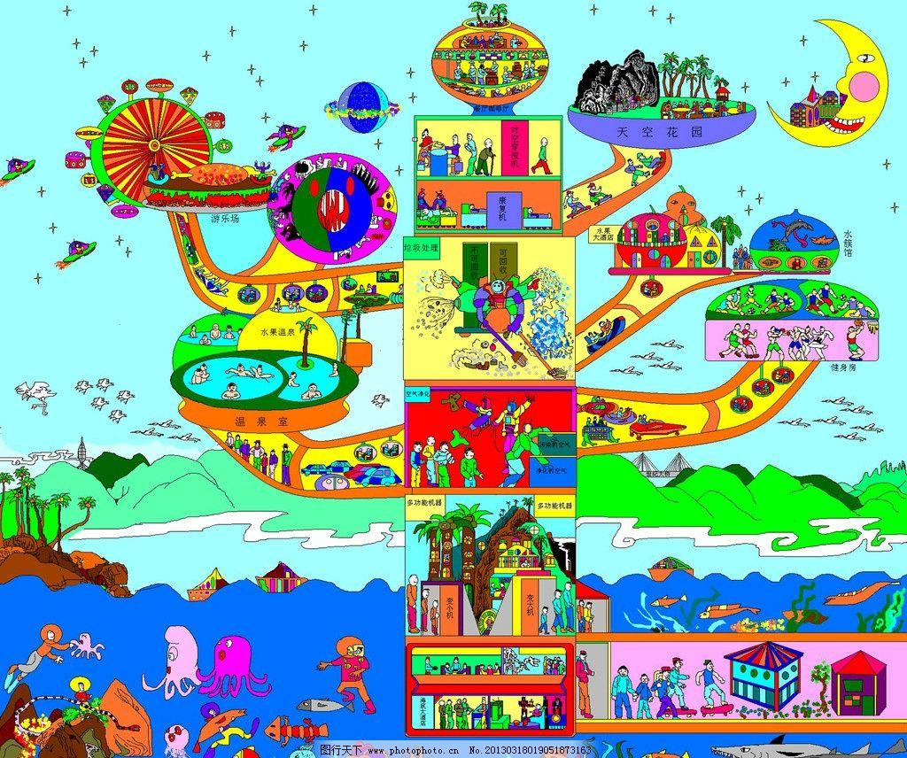 海市蜃楼 美术 儿童画 想象画 未来家园 青山绿水 蓝天 人物 动物