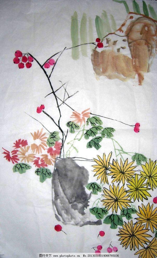 水彩画 水彩国画 水墨画 国画 花 樱桃 绘画书法 文化艺术 设计 72dpi