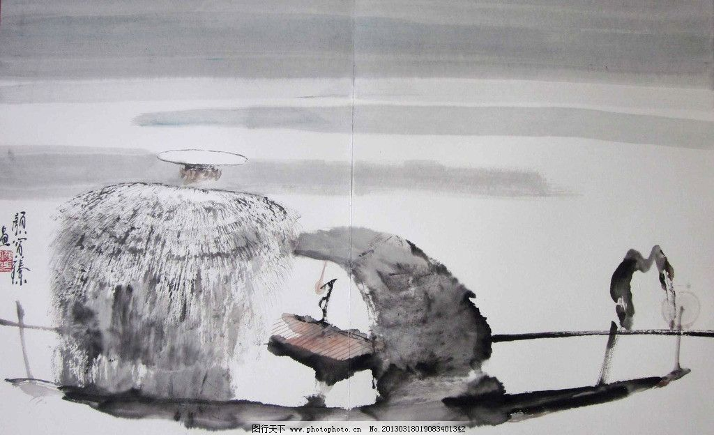 水彩国画 水墨画 水彩画 古代人物 古人 古人垂钓 穿着蓑衣戴着斗笠的