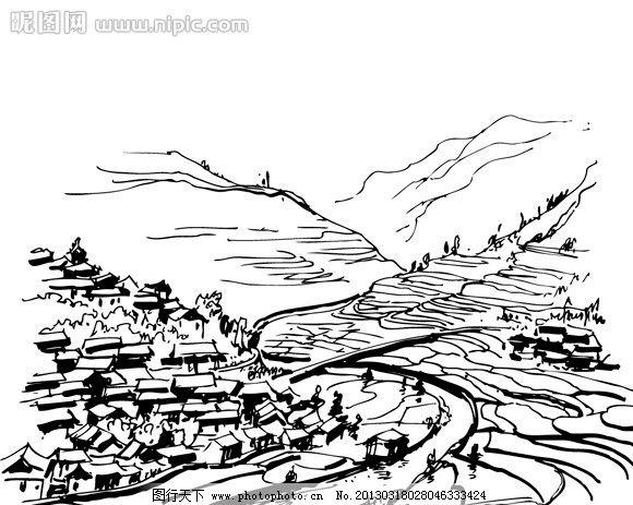 民居线稿 房屋 手绘 黑白 高山 群山 瓦房 树木 城市建筑 建筑家居