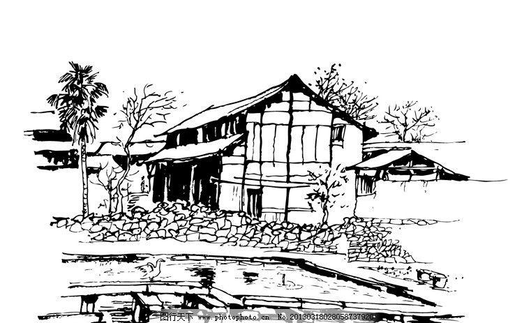 民居线稿 房屋 手绘 黑白 花草 瓦房 树木 井 城市建筑 建筑家居