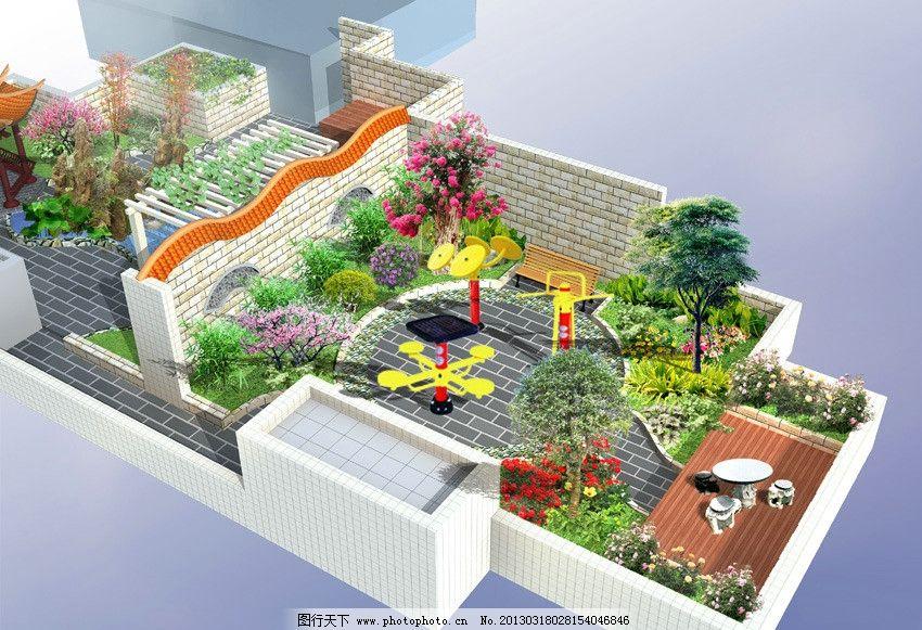 设计图库 环境设计 景观设计  屋顶花园效果图 绿化效果图 屋顶休闲图片