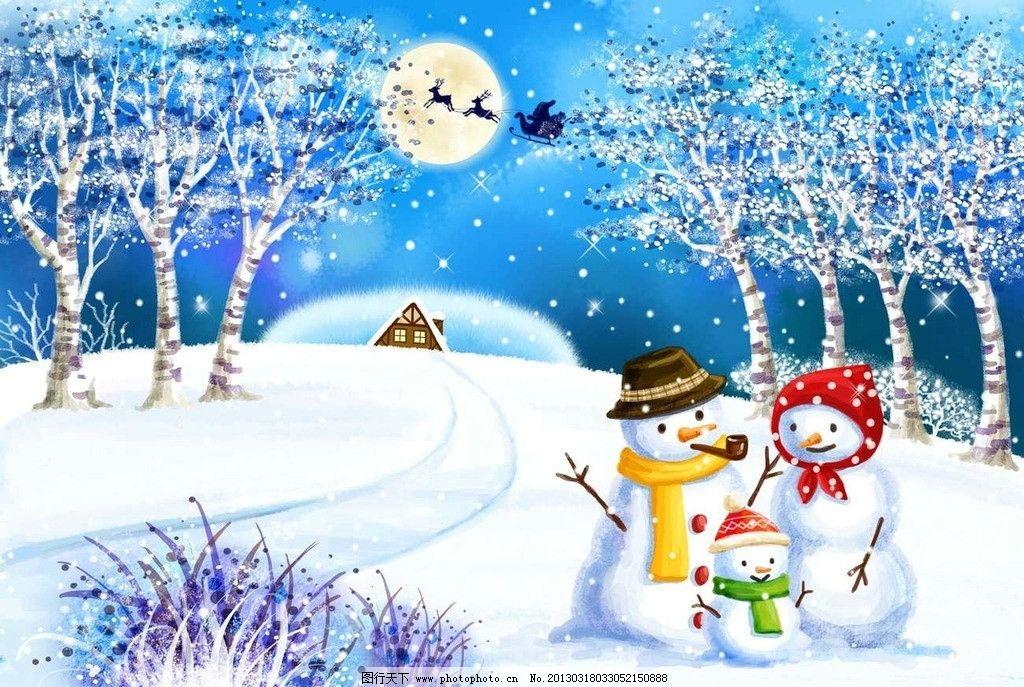 冰雪 冬季 冬天 寒冬 严冬 白桦树 树木 树林 森林 雪人一家 圣诞老人