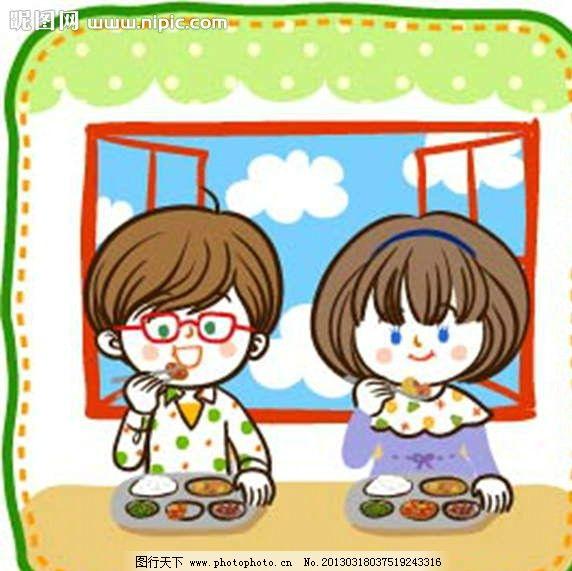 孩子吃饭 吃饭 吃午餐 吃晚餐 美食 就餐 插画 水墨 水彩 背景画 动漫图片