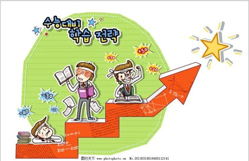 努力学习 韩国儿童 韩国小孩 韩国教育 读书 学习 箭头 上升 学习进步