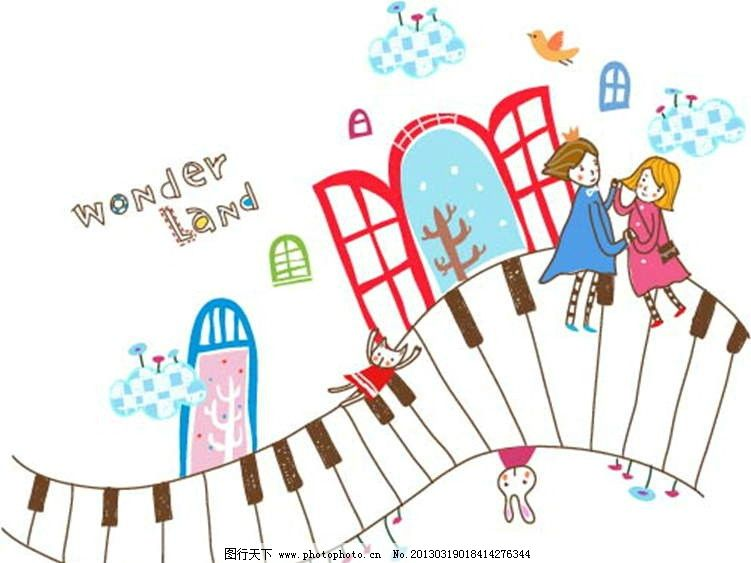 钢琴 键盘 琴键 恭祝 王子 窗户 大树 小鸟 飞鸟 插画 水墨 水彩