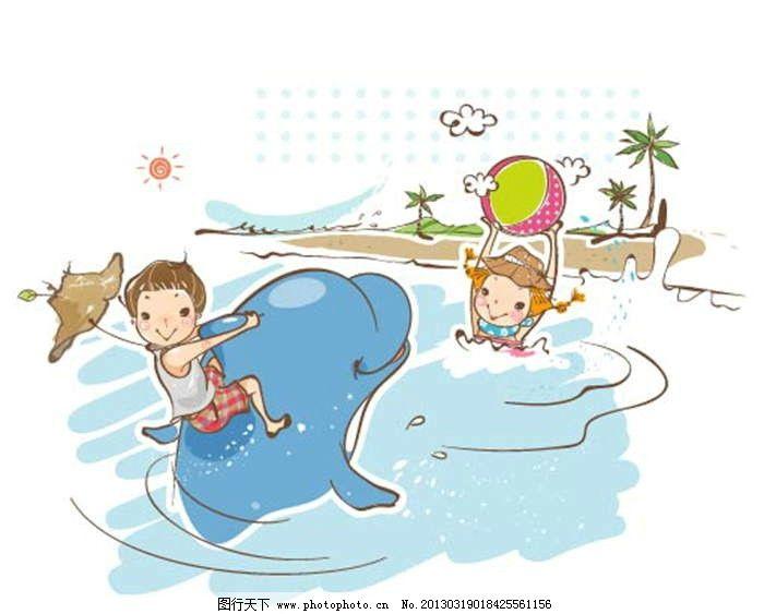 海豚 海边 大海 海洋 游泳 玩耍 嬉戏 皮球 气球 插画 水墨 水彩 背景图片