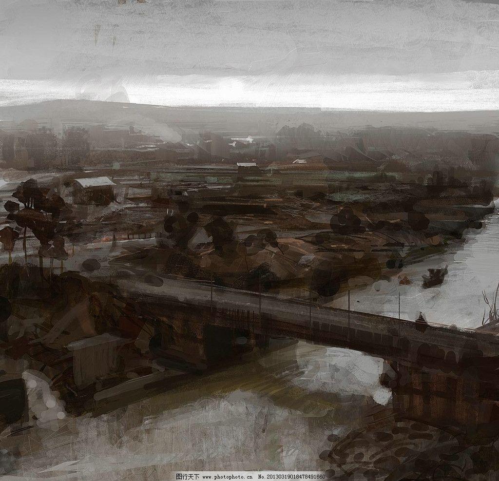 运河 水 场景 房屋 小镇 风景漫画 动漫动画 设计 100dpi jpg