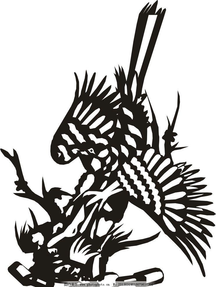 喜鹊 剪纸 黑色 白色 黑白 手绘 矢量
