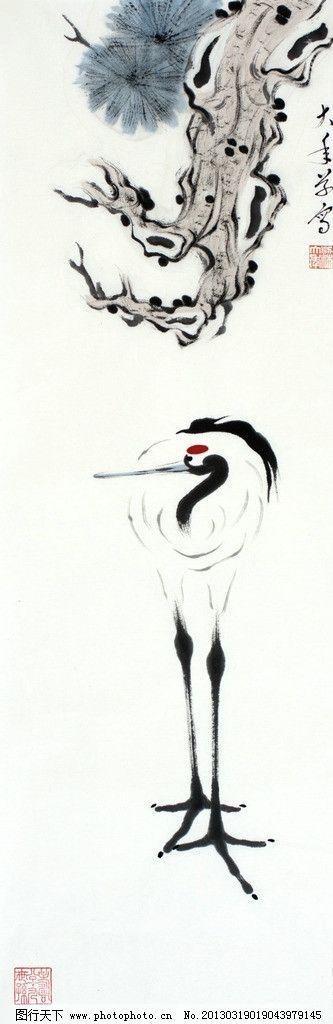 设计图库 文化艺术 绘画书法  梁大年 国画 仙鹤 鹤 丹顶鹤 日本鹤