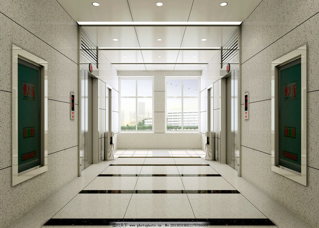 设计图库 3d设计 3d作品设计  电梯间 办公楼电梯效果图 电梯间效果图
