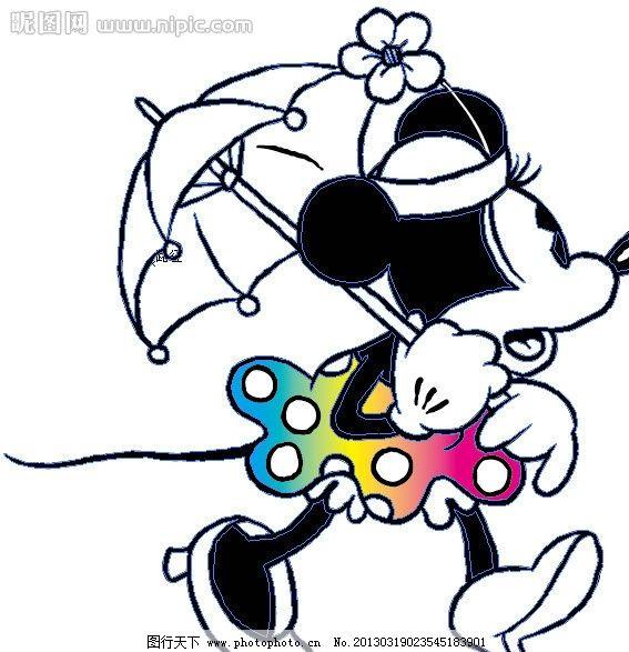 米老鼠 卡通 动漫 动画人物 打伞 渐变 儿童幼儿 矢量人物 矢量 ai