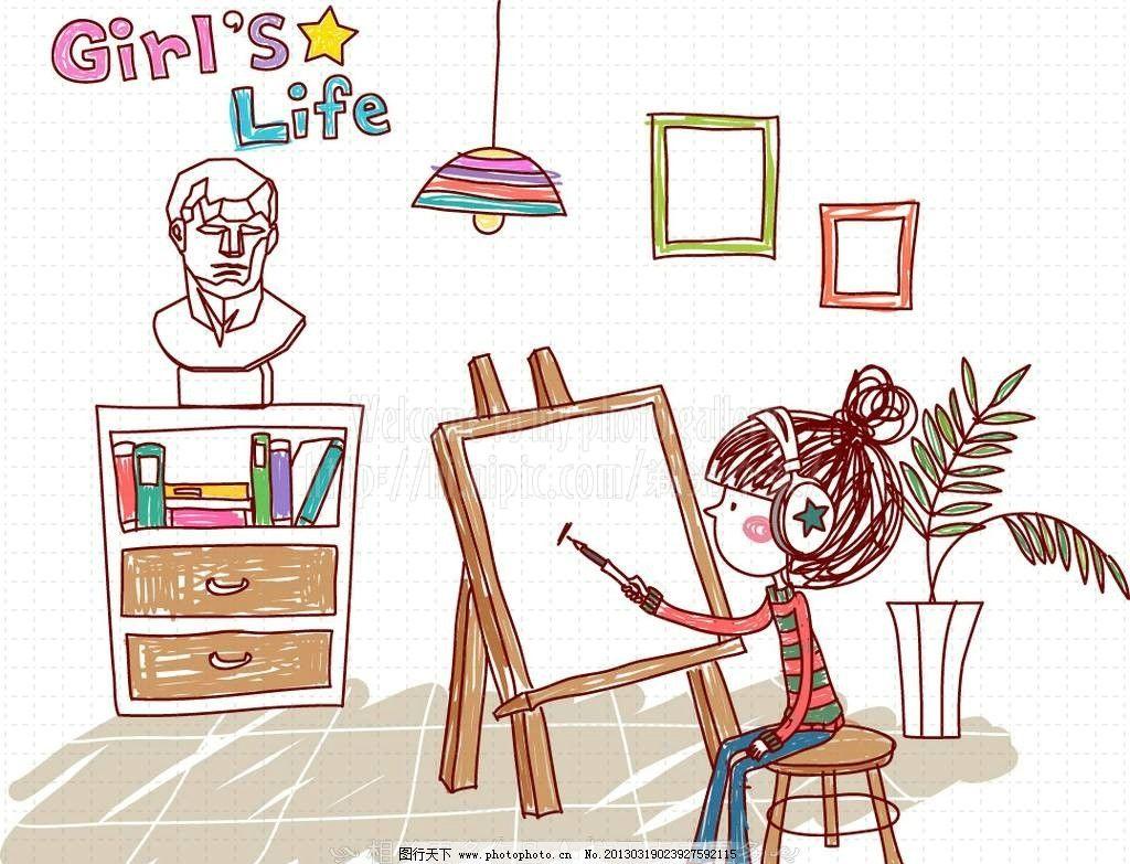 手绘女孩图片
