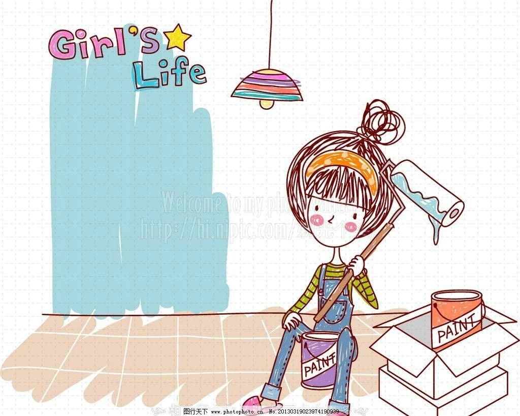 粉刷 手绘女孩 彩铅画 蜡笔画 手绘画 手绘风 卡通女孩 小女孩