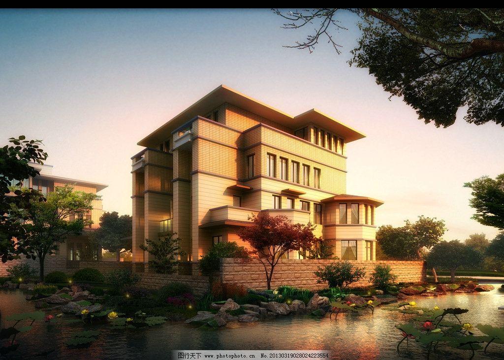 人视图 别墅 景观效果图 景观素材 景观设计 绿化景观 园林景观 建筑