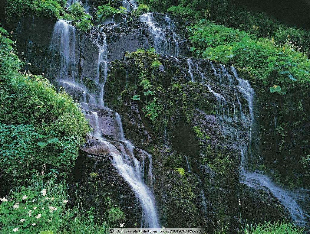 白山瀑布 峡谷瀑布 原始森林 生态园林 高清摄影