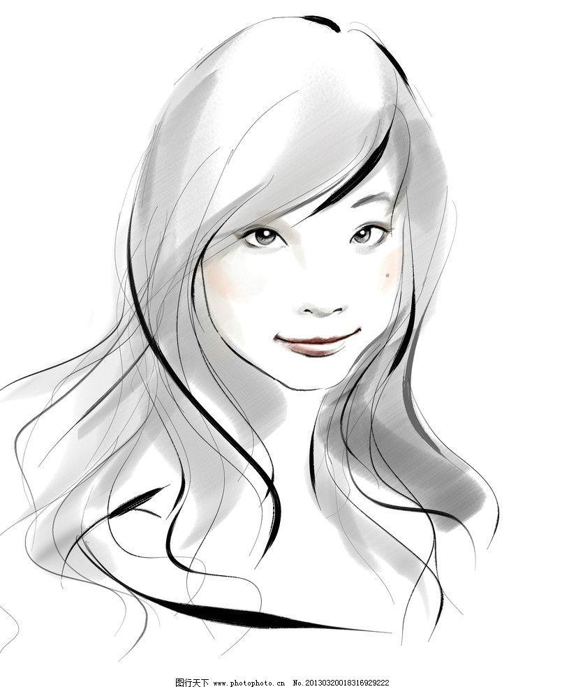 素描长发可爱女生图