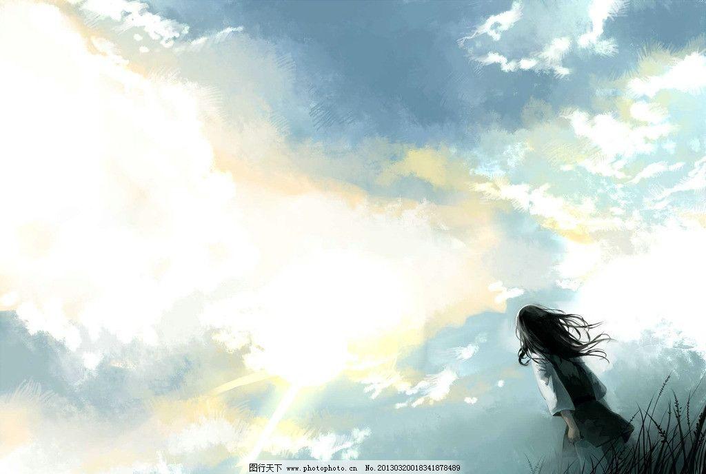 动漫人物 卡通人物 动漫美女 卡通女生 动漫女孩 天空 背景 人物背景