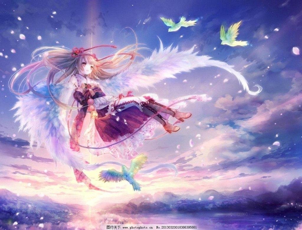 动漫少女 翅膀 天空 唯美 动漫动画
