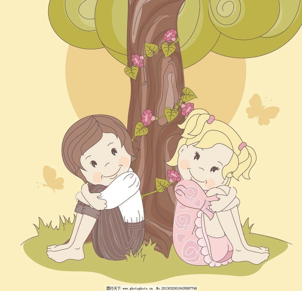 卡通情侣 情侣 爱情 情人 女孩 男孩 卡通人物 卡通女孩 卡通小孩
