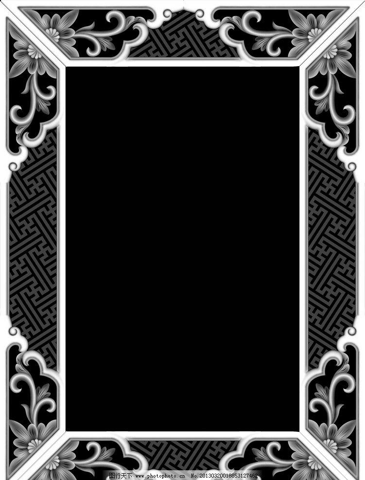 相框 浮雕 灰度图 精雕 艺术 木雕 文化 传统 壁画