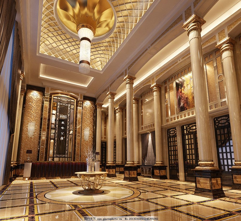 设计图库 3d设计 3d作品设计  大堂 大厅 3d工装模型 酒店大厅 大厅