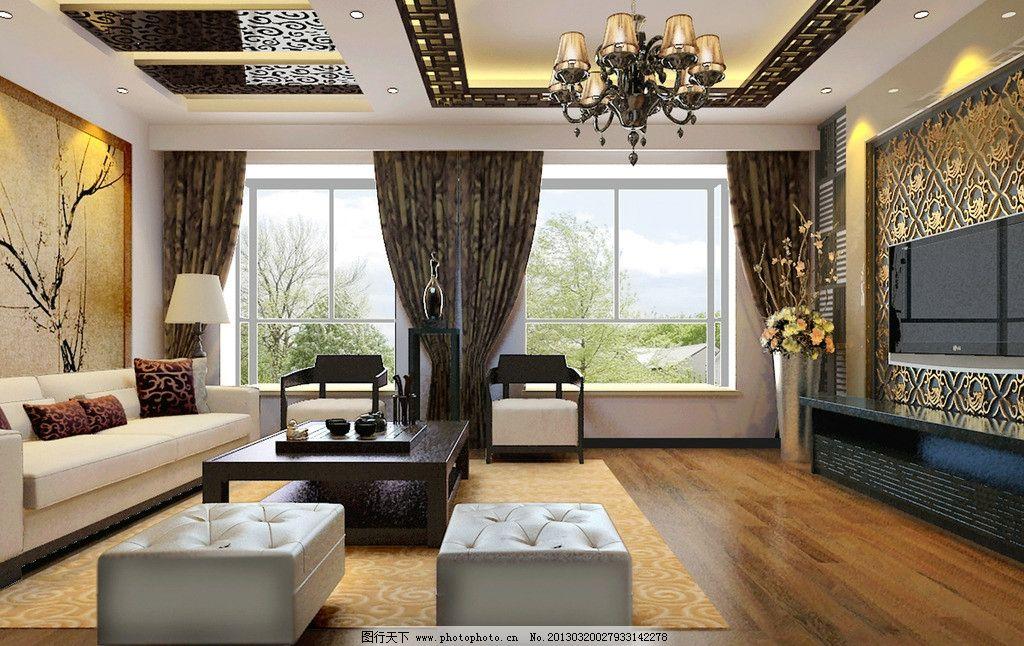 客厅效果图 花格吊顶 电视墙 木地板 沙发背景墙 茶色镜 中式家具