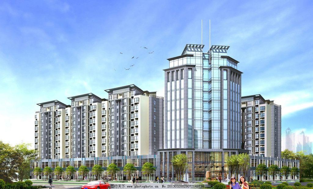 透视图 建筑效果图 住宅效果图 商业效果图 小高层住宅透视图 建筑